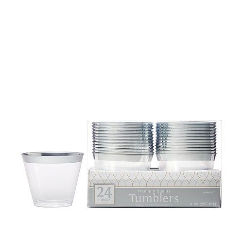 CLEAR-Trimmed Premium Plastic Cups 24ct